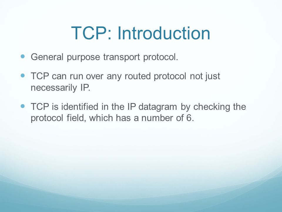 The TCP Segment Header Source/Destination ports (16 bits each): Identify local end points of a connection.