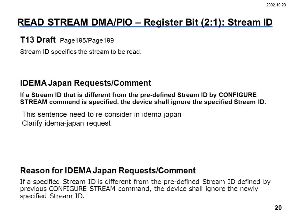 2002.10.23 20 READ STREAM DMA/PIO – Register Bit (2:1): Stream ID T13 Draft Page195/Page199 Stream ID specifies the stream to be read.