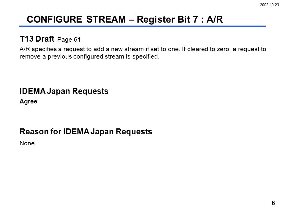 2002.10.23 6 T13 Draft Page 61 A/R specifies a request to add a new stream if set to one.