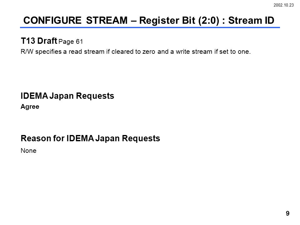2002.10.23 9 T13 Draft Page 61 R/W specifies a read stream if cleared to zero and a write stream if set to one. IDEMA Japan Requests Agree Reason for