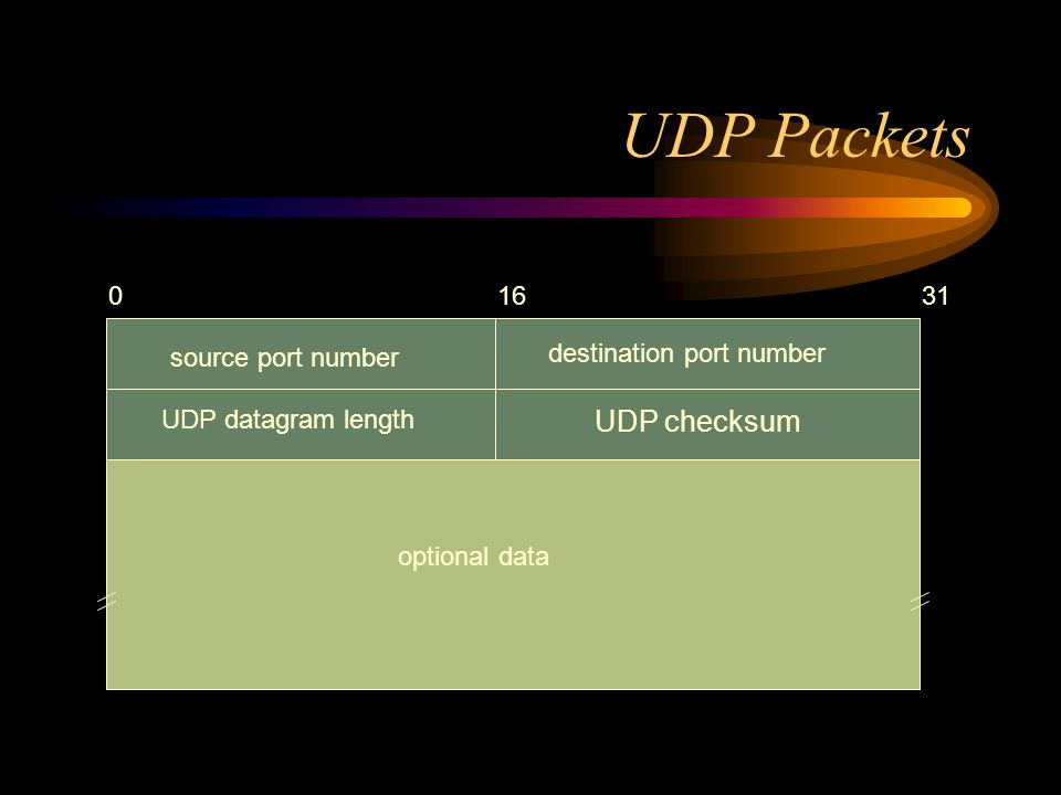 UDP Packets source port number 01631 destination port number UDP datagram length UDP checksum optional data