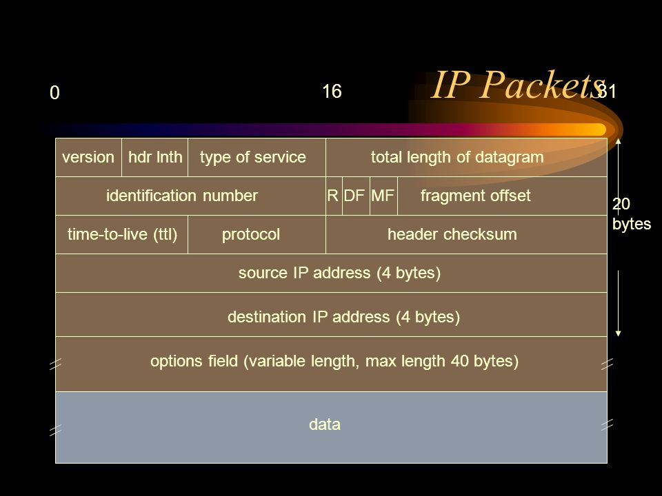 IP Packets 0 1631 versionhdr lnth type of service total length of datagram identification numberfragment offset time-to-live (ttl)protocolheader checksum source IP address (4 bytes) destination IP address (4 bytes) options field (variable length, max length 40 bytes) data 20 bytes RDFMF