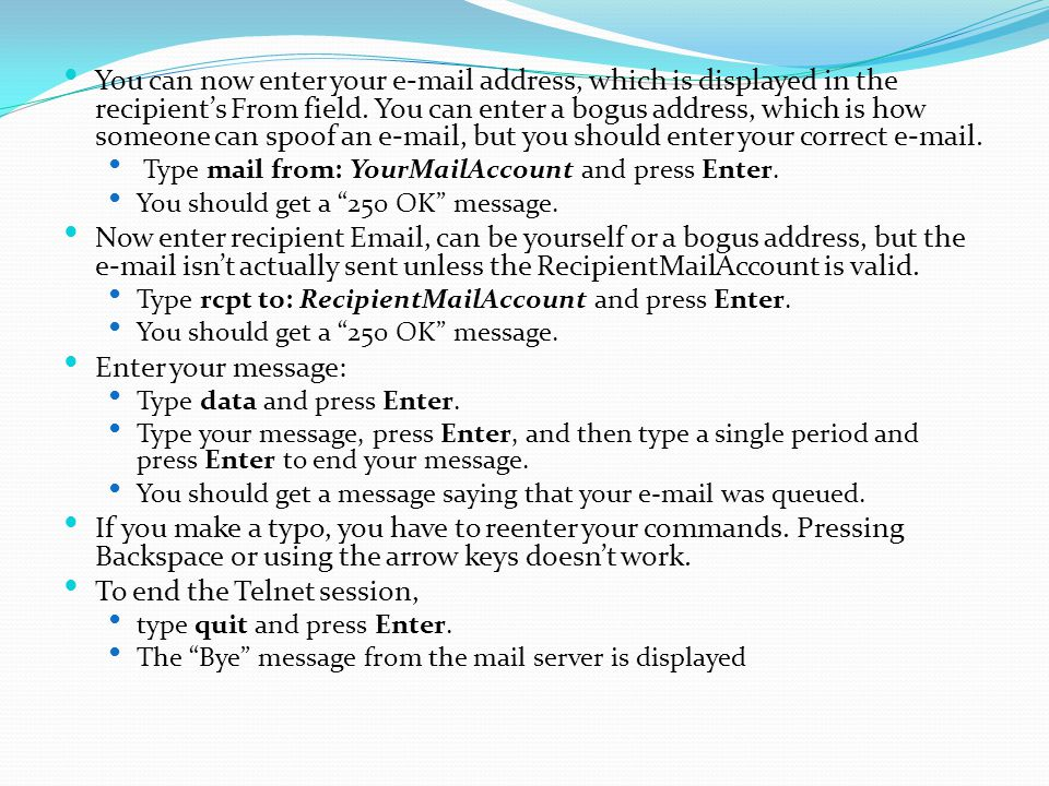 You can now enter your e-mail address, which is displayed in the recipient's From field.
