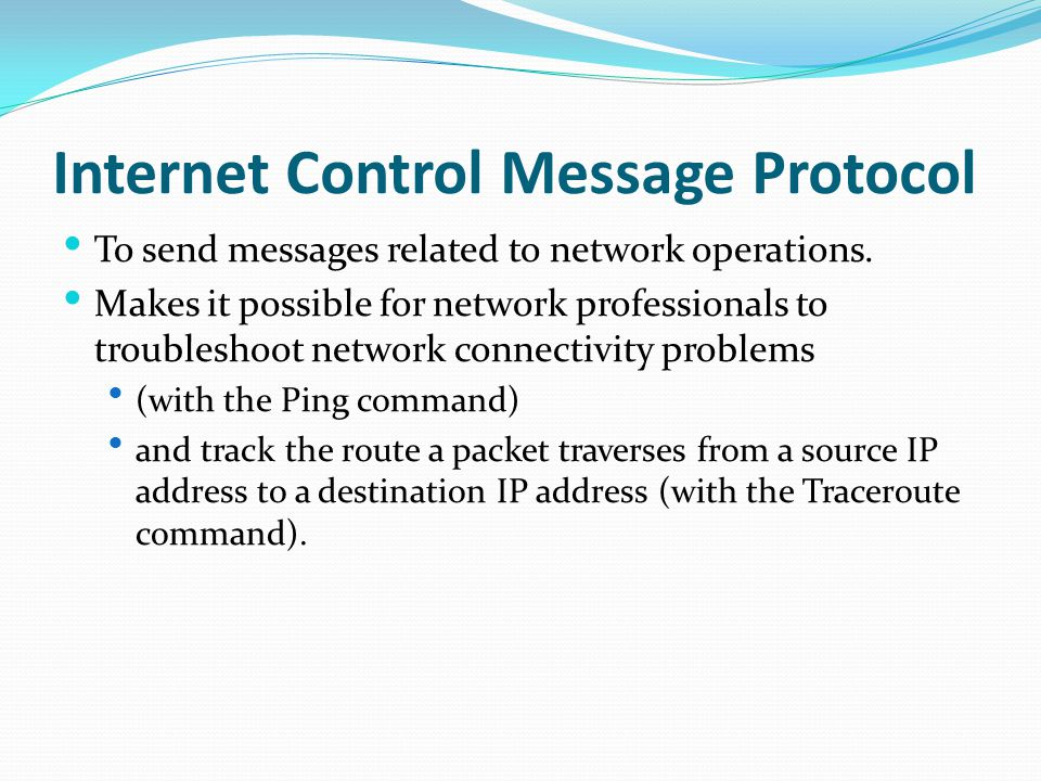 Internet Control Message Protocol To send messages related to network operations.