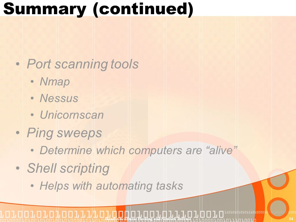 Hands-On Ethical Hacking and Network Defense34 Summary (continued) Port scanning tools Nmap Nessus Unicornscan Ping sweeps Determine which computers a