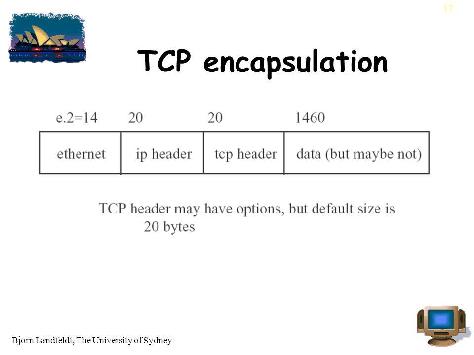 Bjorn Landfeldt, The University of Sydney 17 TCP encapsulation
