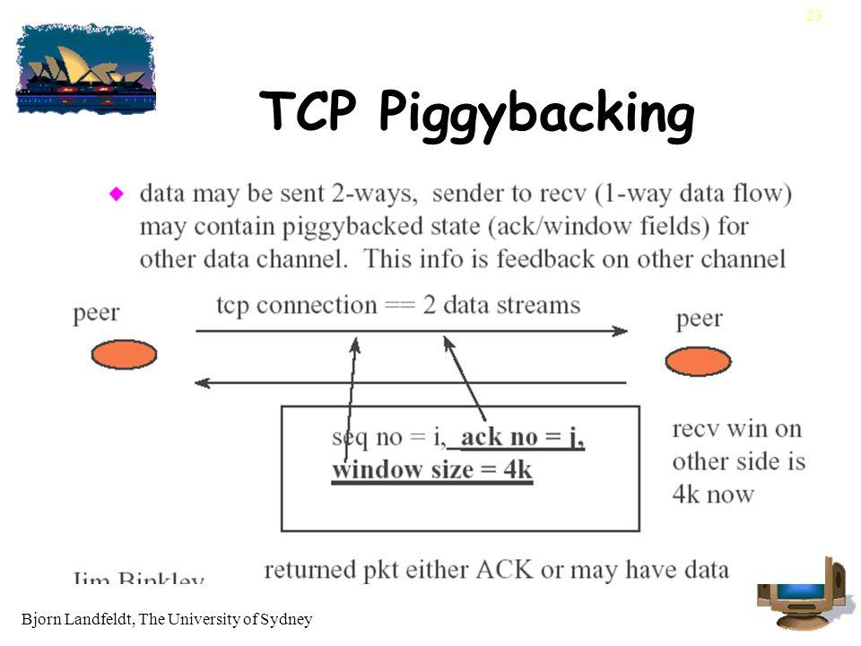 Bjorn Landfeldt, The University of Sydney 23 TCP Piggybacking