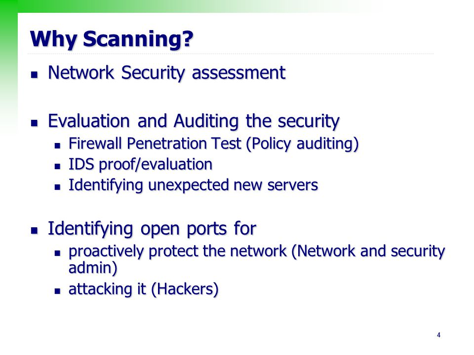 15 Port Scanning To determine what services are running or in a LISTENING To determine what services are running or in a LISTENING Some well known types Some well known types TCP Connect Scan TCP Connect Scan TCP SYN scan TCP SYN scan Stealth scan Stealth scan FTP bounce scan FTP bounce scan
