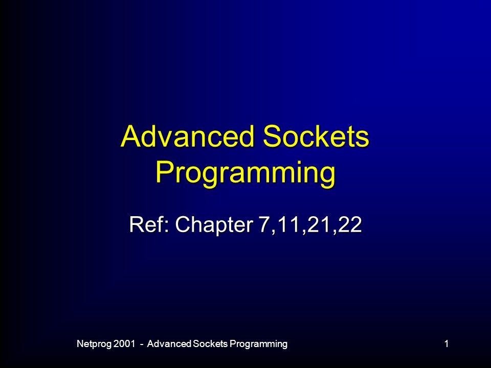 Netprog 2001 - Advanced Sockets Programming1 Advanced Sockets Programming Ref: Chapter 7,11,21,22