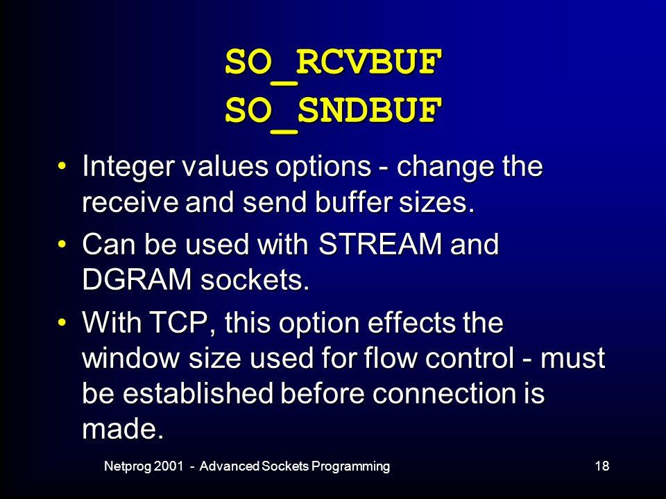Netprog 2001 - Advanced Sockets Programming18 SO_RCVBUF SO_SNDBUF Integer values options - change the receive and send buffer sizes.Integer values options - change the receive and send buffer sizes.