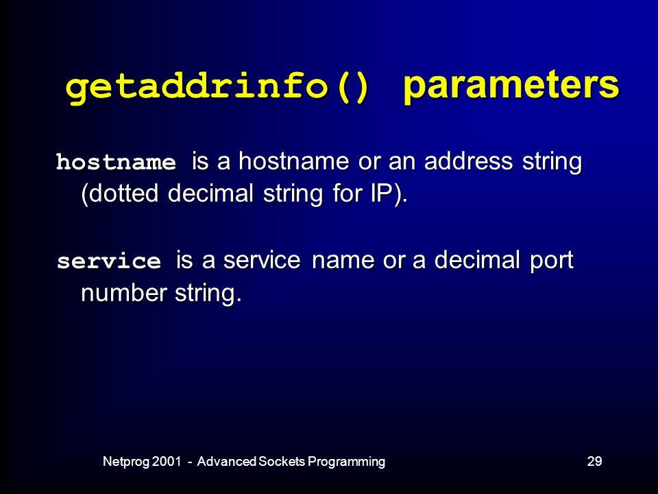 Netprog 2001 - Advanced Sockets Programming29 getaddrinfo() parameters hostname is a hostname or an address string (dotted decimal string for IP).