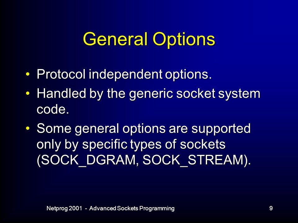 Netprog 2001 - Advanced Sockets Programming9 General Options Protocol independent options.Protocol independent options.