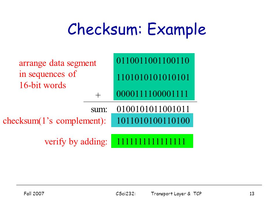 Fall 2007CSci232: Transport Layer & TCP12 UDP Checksum Sender: treat segment contents as sequence of 16-bit integers checksum: addition (1's complemen