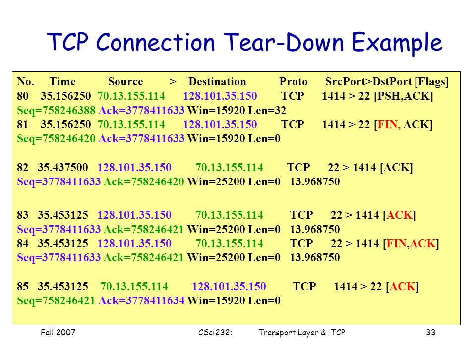"Fall 2007CSci232: Transport Layer & TCP32 Step 5: client receives FIN, replies with ACK. –Enters ""timed wait"" - will respond with ACK to received FINs"