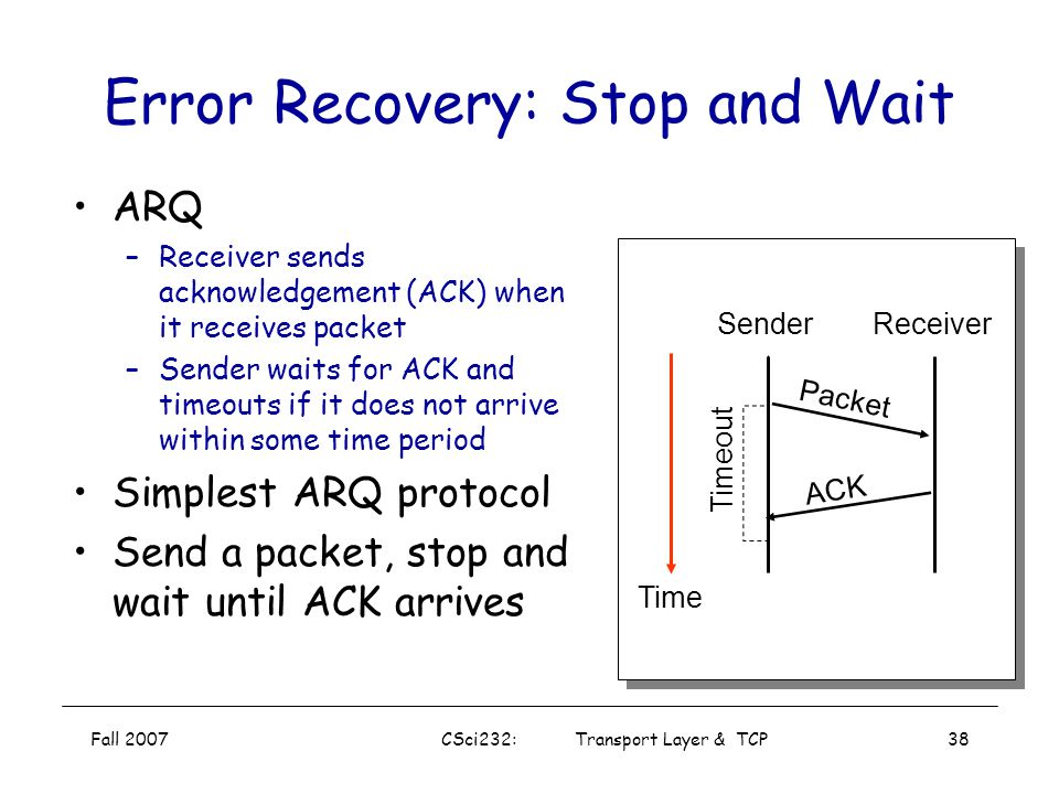 Fall 2007CSci232: Transport Layer & TCP37 ARQ vs. FEC –automatic retransmission request –forward error correction General ARQ Algorithms –Stop & Wait