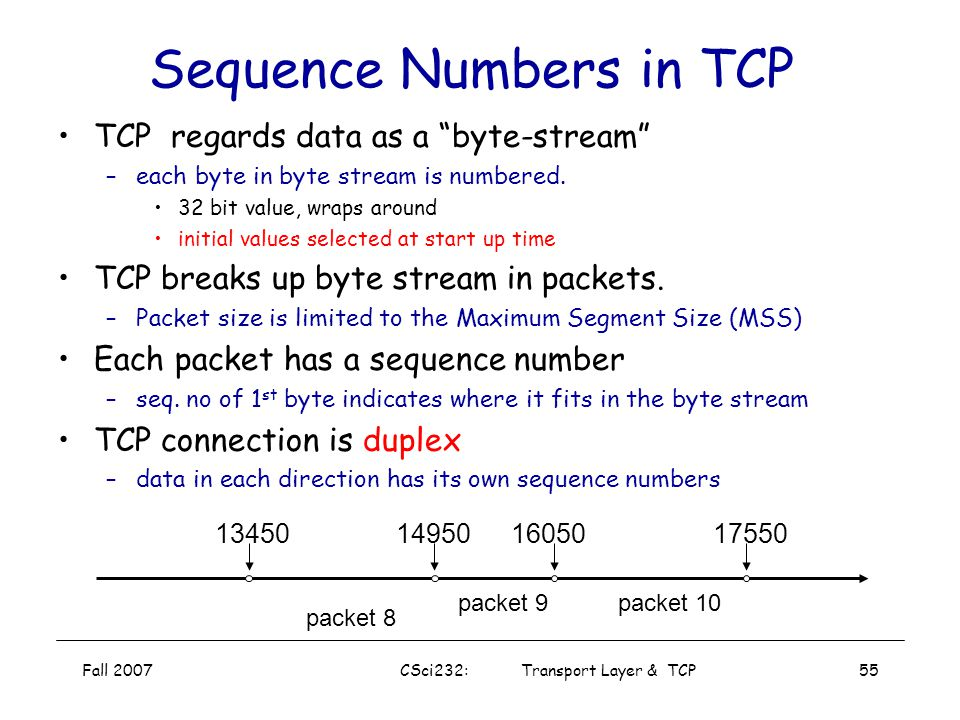 Fall 2007CSci232: Transport Layer & TCP54 Sequence Numbers How large does size of sequence number space need to be? –Must be able to detect wrap-aroun
