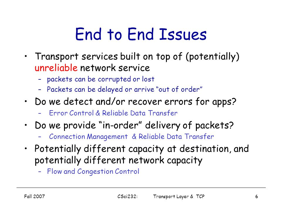 Fall 2007CSci232: Transport Layer & TCP5 Transport vs. Application and Network Layer application layer: application processes and message exchange net