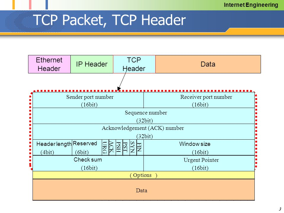 Internet Engineering 3 TCP Packet, TCP Header DataIP Header Ethernet Header TCP Header