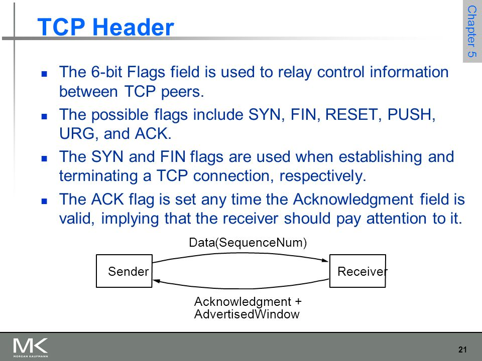 21 Chapter 5 TCP Header The 6-bit Flags field is used to relay control information between TCP peers.