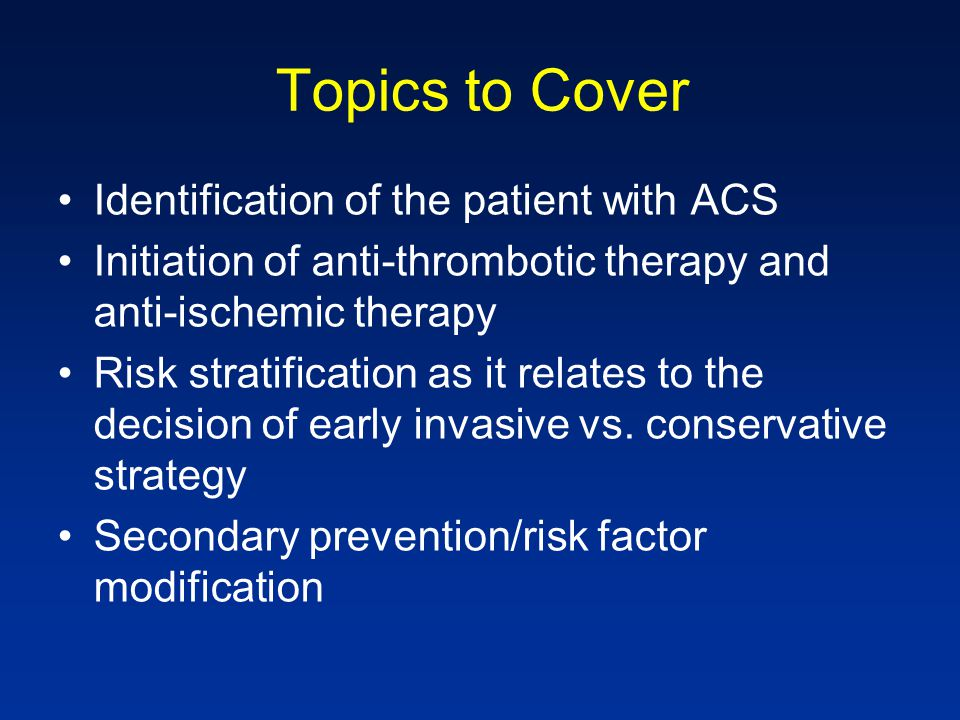 Initial Anti-Ischemic Therapies (Class I) Bed Rest (~ 24 hours) Oxygen Nitrates Morphine Sulfate Beta-blocker (within the 1 st 24 hours in patients without contraindications) Non-dihydropyridine CCB (verapamil/dilt) in patients with contraindications to BB ACE inhibitor for HTN, low LVEF or CHF or DM Discontinue NSAIDs Circulation.