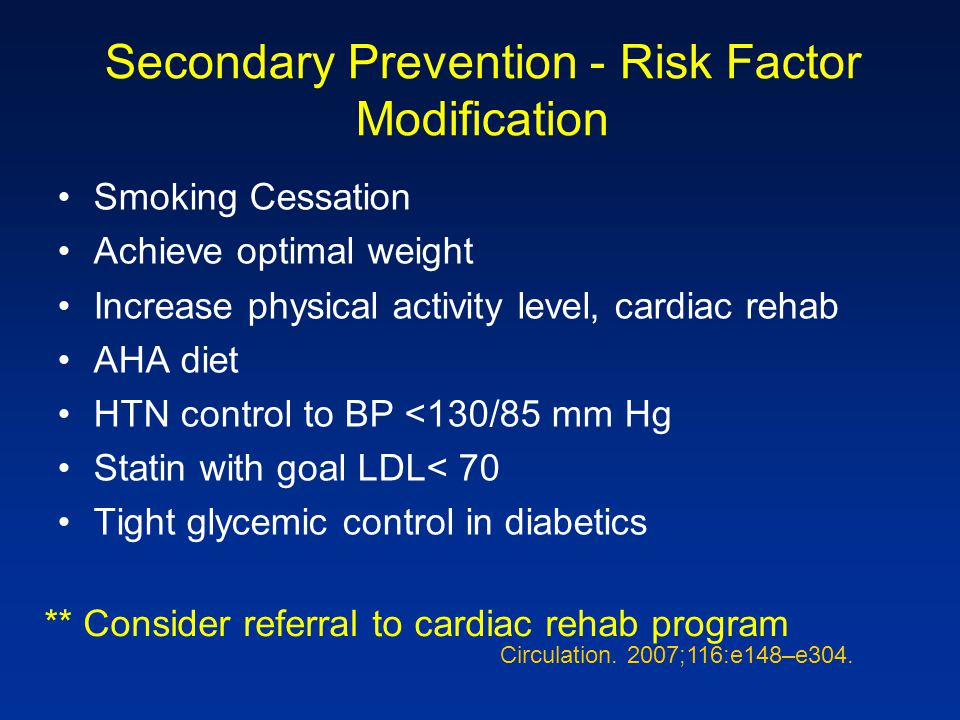 Secondary Prevention - Risk Factor Modification Smoking Cessation Achieve optimal weight Increase physical activity level, cardiac rehab AHA diet HTN