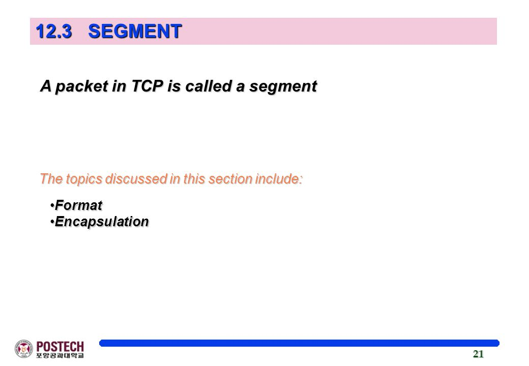 21 A packet in TCP is called a segment A packet in TCP is called a segment The topics discussed in this section include: FormatFormat EncapsulationEncapsulation 12.3 SEGMENT