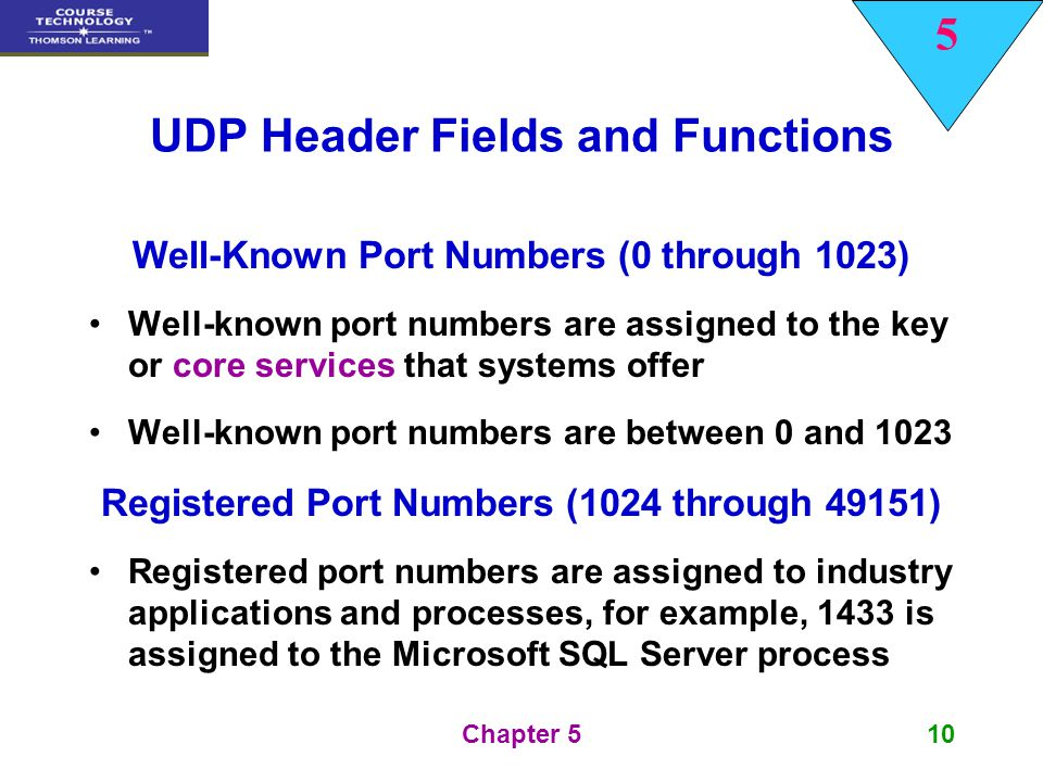 5 Chapter 510 UDP Header Fields and Functions Well-Known Port Numbers (0 through 1023) Well-known port numbers are assigned to the key or core service