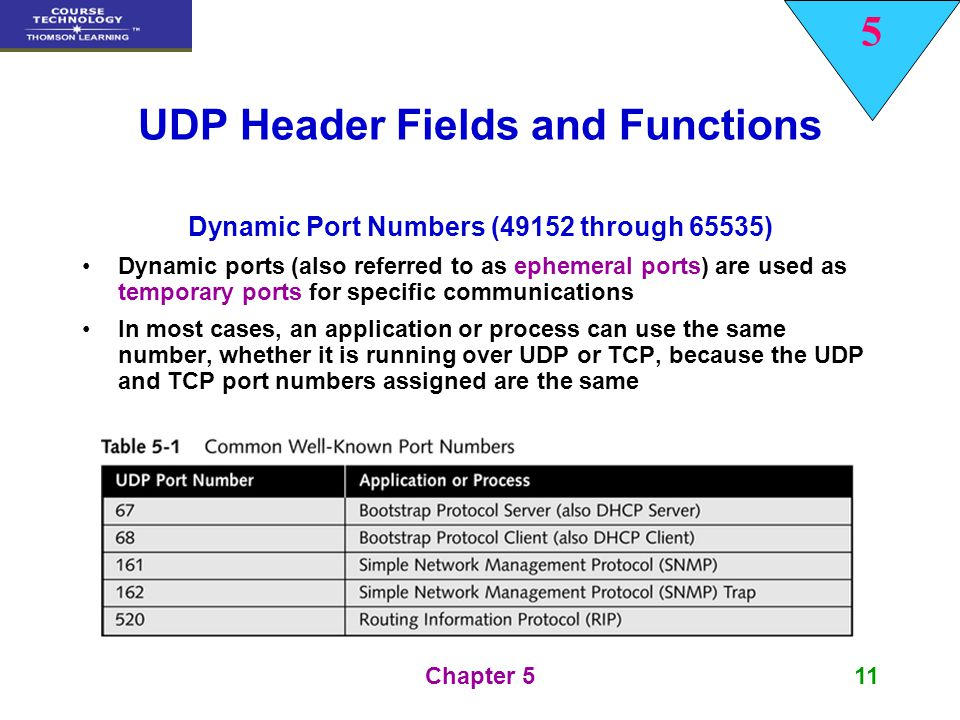 5 Chapter 511 UDP Header Fields and Functions Dynamic Port Numbers (49152 through 65535) Dynamic ports (also referred to as ephemeral ports) are used