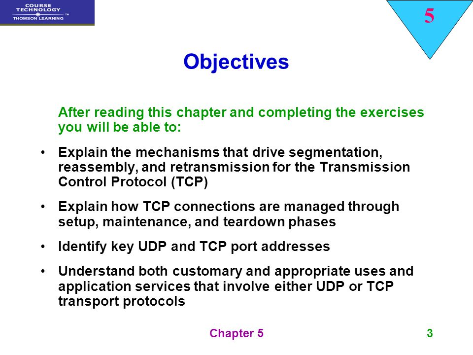 5 Chapter 564 Summary The Transmission Control Protocol, TCP, is the heavyweight, connection-oriented protocol that helps name the TCP/IP protocol suite In keeping with its more diverse, more robust capabilities, the TCP header is longer and more complex, including a variety of flags, values, and message types used to deliver acknowledgements, manage traffic flow, request retransmissions, and negotiate connections between hosts