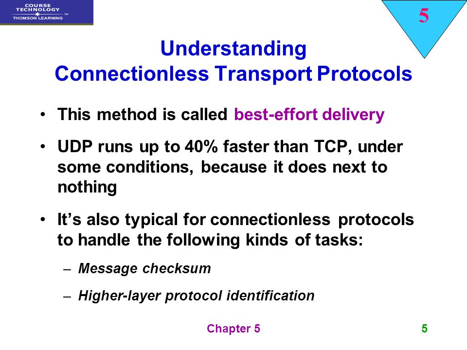 5 Chapter 516 UDP Port Numbers and Processes Both UDP and TCP use port numbers to define the source and destination processes or applications Figure 5-4 shows how packets are demultiplexed, based on the type number, protocol number, and port number
