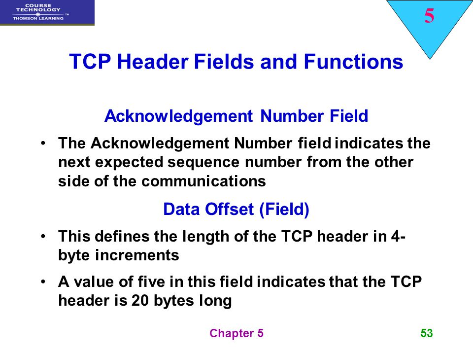 5 Chapter 553 TCP Header Fields and Functions Acknowledgement Number Field The Acknowledgement Number field indicates the next expected sequence numbe