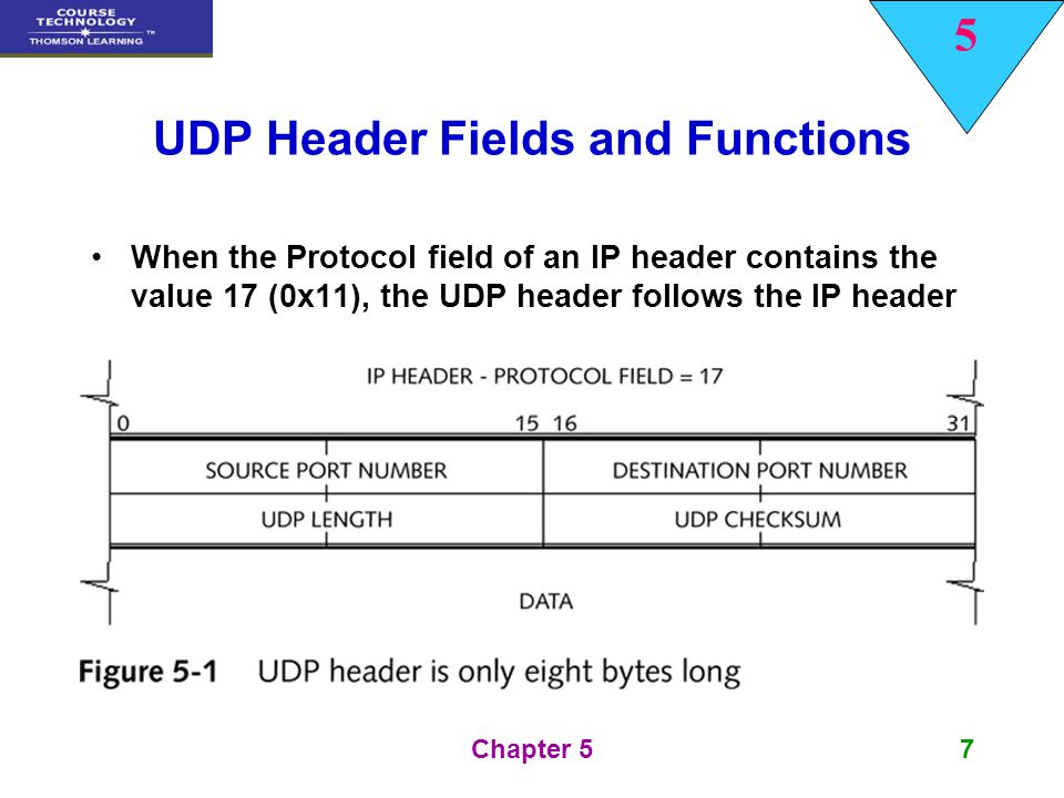 5 Chapter 558 TCP Header Fields and Functions Urgent Pointer Field This field is only relevant if the URG pointer is set If the URG pointer is set, the receiver must examine this field to see where to look/read first in the packet