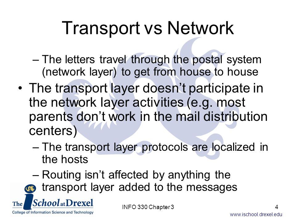 www.ischool.drexel.edu Reliable Data Transfer v2.2 Could achieve the same effect without a NAK (for corrupt packet) if we only ACK the last correctly received packet Two ACKs for the same packet (duplicate ACKs) means the packet after the second ACK wasn't received correctly The NAK-free protocol is called rdt2.2 45INFO 330 Chapter 3