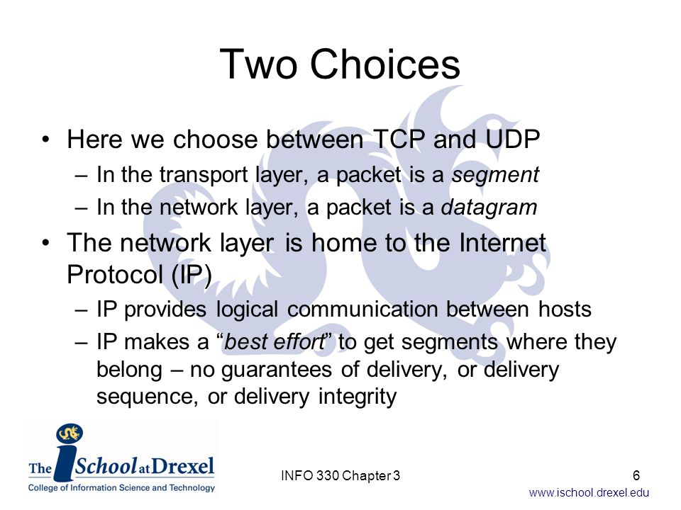 www.ischool.drexel.edu IP Each host has an IP address Common purpose of UDP and TCP is extend delivery of IP data to the host's processes –This is called transport-layer multiplexing and demultiplexing –Both UDP and TCP also provide error checking That's it for UDP – data delivery and error checking.