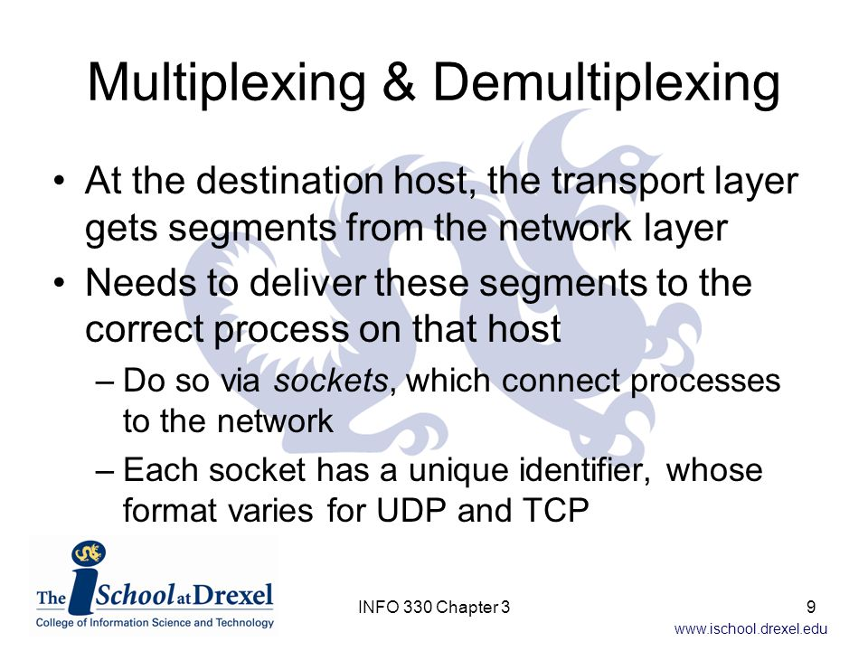 www.ischool.drexel.edu TCP State Cycle Another way to view the history of a TCP connection is through its state changes (Fig 3.41, 3.42) –The connection starts Closed –After the handshake is completed it's Established Then the processes communicate –Sending or receiving a FIN=1 starts the closing process, until both sides get back to Closed Whoever sent a FIN waits some period (30-120 s) after ACKing the other host's FIN before closing their connection 100INFO 330 Chapter 3