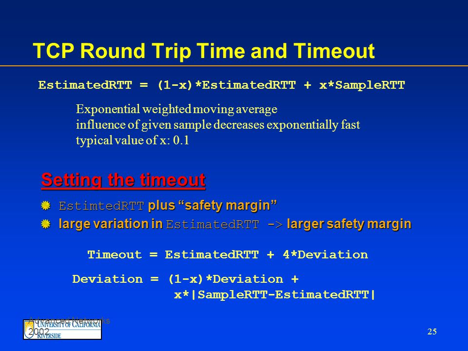 Advanced Networks 2002 24 TCP Round Trip Time and Timeout Q: how to set TCP timeout value.