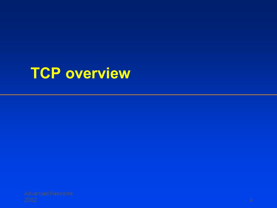 Advanced Networks 2002 44 TCP Latency Modeling: Slow Start (cont.)