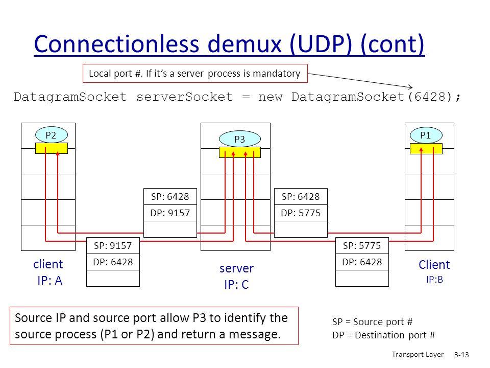 Transport Layer 3-13 Connectionless demux (UDP) (cont) DatagramSocket serverSocket = new DatagramSocket(6428); Client IP:B P2 client IP: A P1 P3 serve