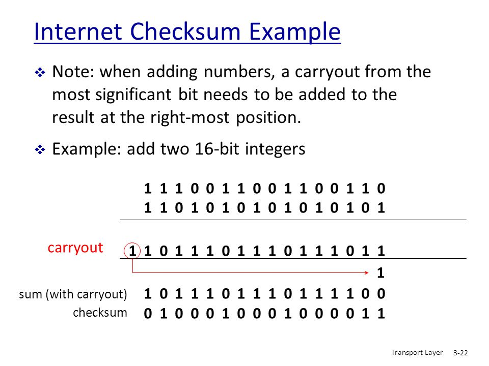 Transport Layer 3-22 Internet Checksum Example  Note: when adding numbers, a carryout from the most significant bit needs to be added to the result a