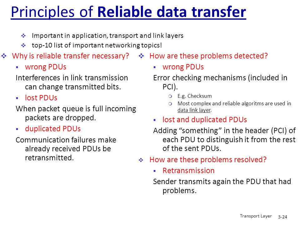  Why is reliable transfer necessary?  wrong PDUs Interferences in link transmission can change transmitted bits.  lost PDUs When packet queue is fu