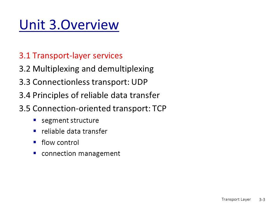 Transport Layer 3-44 rdt2.0: operation with no errors Wait for call from above snkpkt = make_pkt(data, checksum) udt_send(sndpkt) extract(rcvpkt,data) deliver_data(data) udt_send(ACK) rdt_rcv(rcvpkt) && notcorrupt(rcvpkt) rdt_rcv(rcvpkt) && isACK(rcvpkt) udt_send(sndpkt) rdt_rcv(rcvpkt) && isNAK(rcvpkt) udt_send(NAK) rdt_rcv(rcvpkt) && corrupt(rcvpkt) Wait for ACK or NAK Wait for call from below rdt_send(data) 