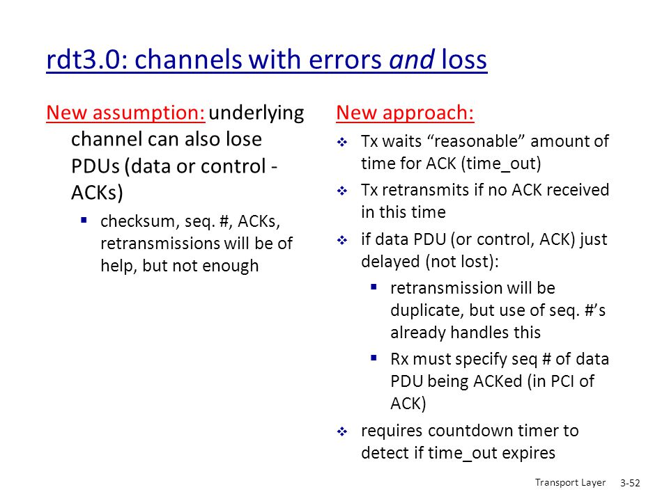 Transport Layer 3-52 rdt3.0: channels with errors and loss New assumption: underlying channel can also lose PDUs (data or control - ACKs)  checksum,