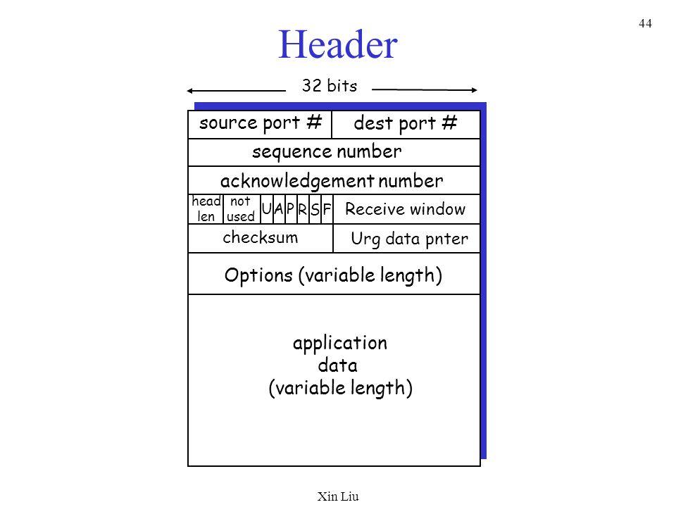 Xin Liu 44 Header source port # dest port # 32 bits application data (variable length) sequence number acknowledgement number Receive window Urg data
