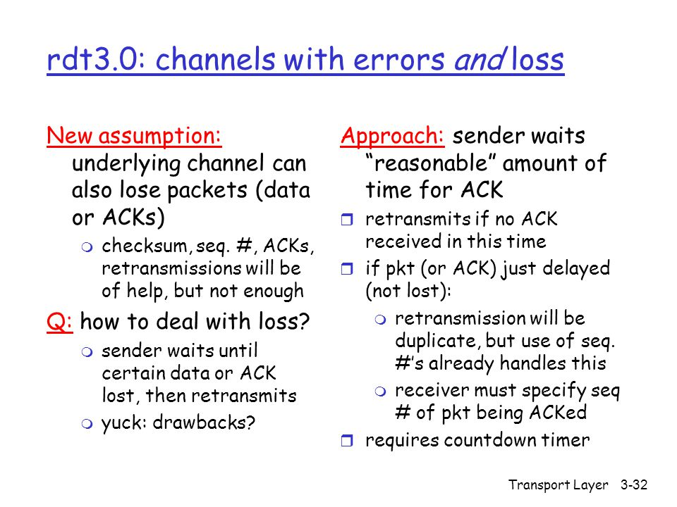 Transport Layer3-32 rdt3.0: channels with errors and loss New assumption: underlying channel can also lose packets (data or ACKs) m checksum, seq.