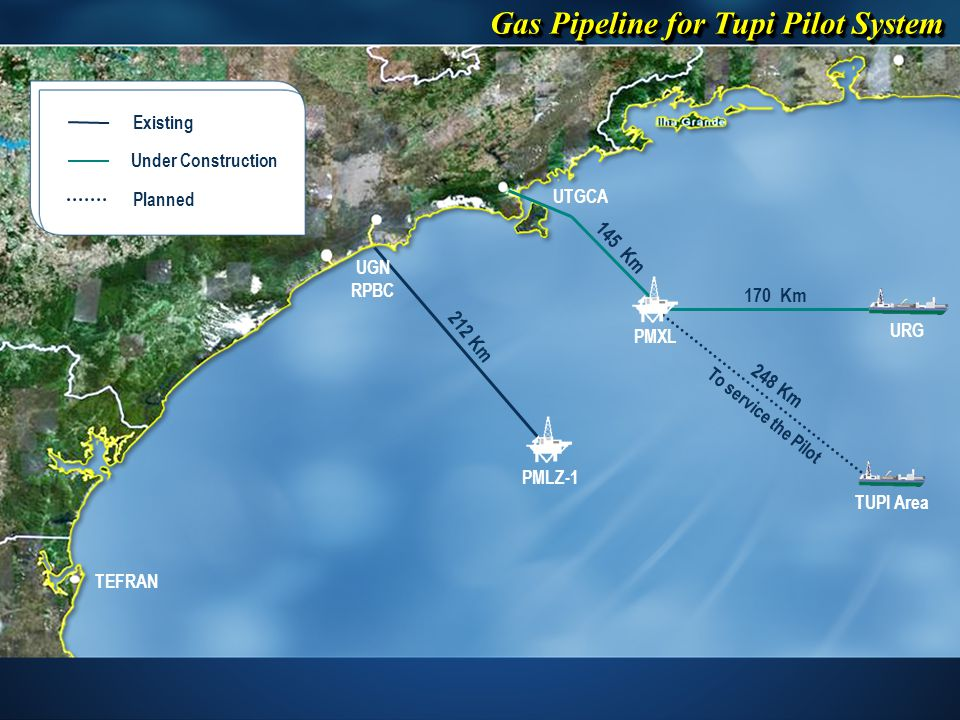 UTGCA UGN RPBC TEFRAN TUPI Area URG PMXL PMLZ-1 170 Km 248 Km 212 Km 145 Km To service the Pilot Planned Existing Under Construction Gas Pipeline for Tupi Pilot System