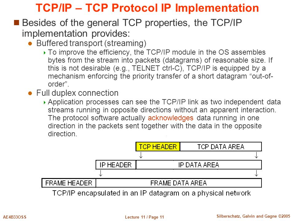 Lecture 11 / Page 11AE4B33OSS Silberschatz, Galvin and Gagne ©2005 TCP/IP – TCP Protocol IP Implementation Besides of the general TCP properties, the