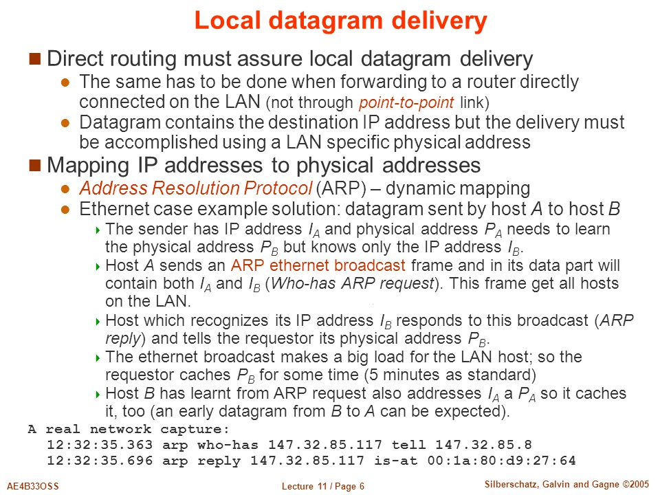 Lecture 11 / Page 6AE4B33OSS Silberschatz, Galvin and Gagne ©2005 Local datagram delivery Direct routing must assure local datagram delivery The same