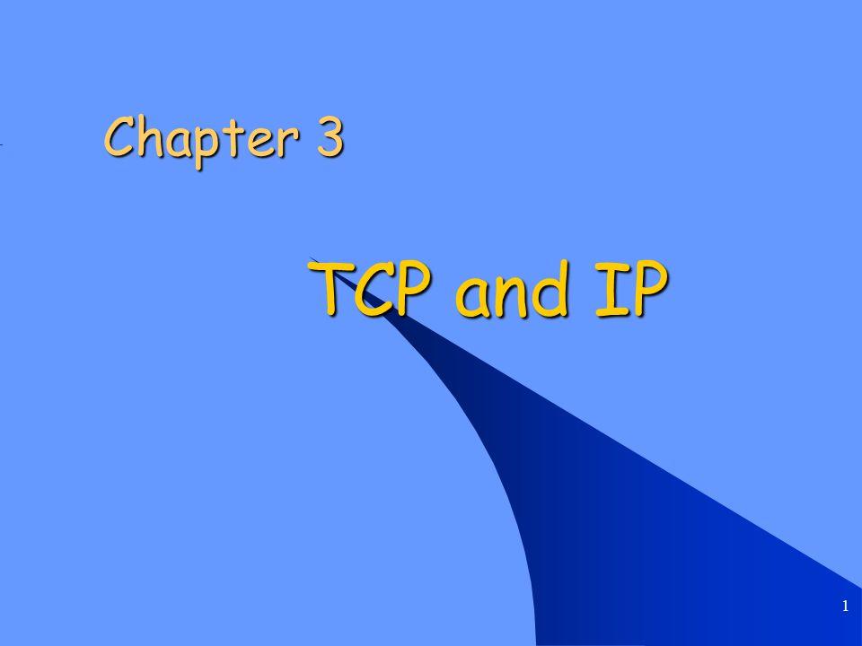 Chapter 3 TCP and IP 2 Introduction Transmission Control Protocol (TCP) Transmission Control Protocol (TCP) User Datagram Protocol (UDP) User Datagram Protocol (UDP) Internet Protocol (IPv4) Internet Protocol (IPv4) IPv6 IPv6