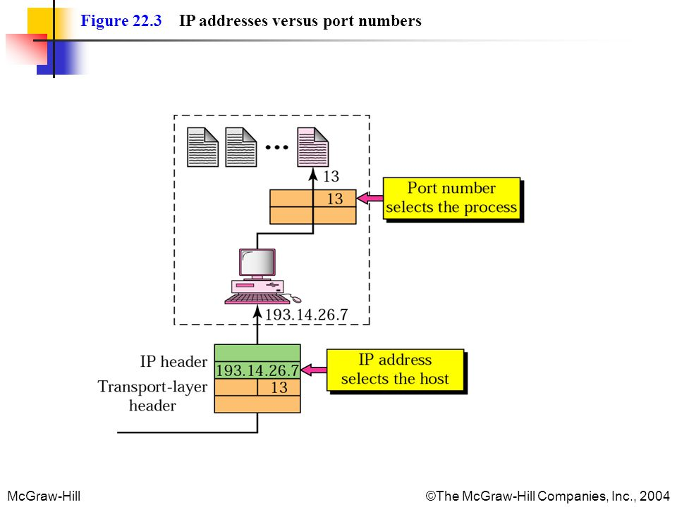 McGraw-Hill©The McGraw-Hill Companies, Inc., 2004 Figure 22.3 IP addresses versus port numbers