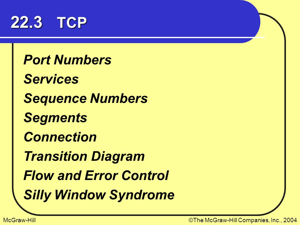 McGraw-Hill©The McGraw-Hill Companies, Inc., 2004 22.3 TCP Port Numbers Services Sequence Numbers Segments Connection Transition Diagram Flow and Error Control Silly Window Syndrome